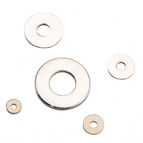 Assorted 100 PCs Nickelled Flat Washer with Round Holes