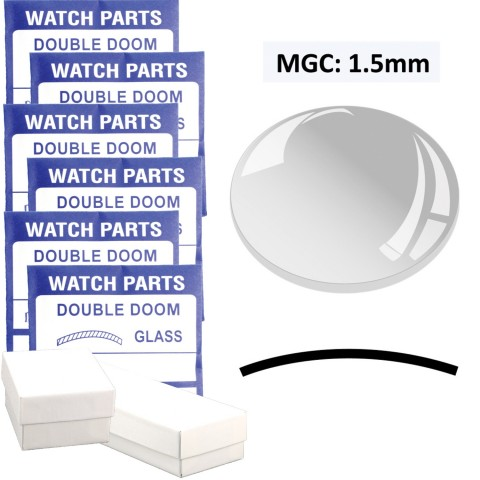 MGC: 1.5mm Thick  Double Dome Glass Crystal, (18.0~40.0mm) Set of 45 PCs.
