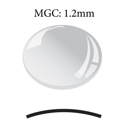 MGC: 1.2mm Thick Round Concave Low Dome Mineral Glass Crystal